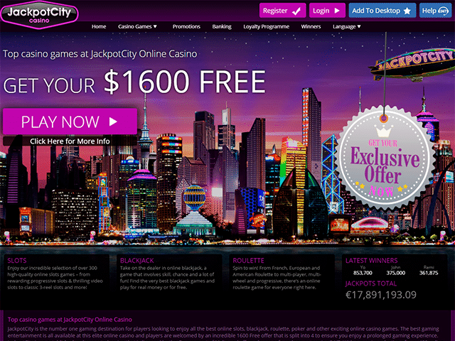 Jackpot City Casino Homepage